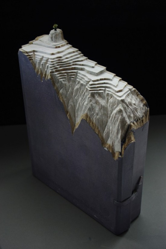01 Carved Book Landscapes by Guy Laramee 550x821 Guy Laramee | Carved Book Landscapes