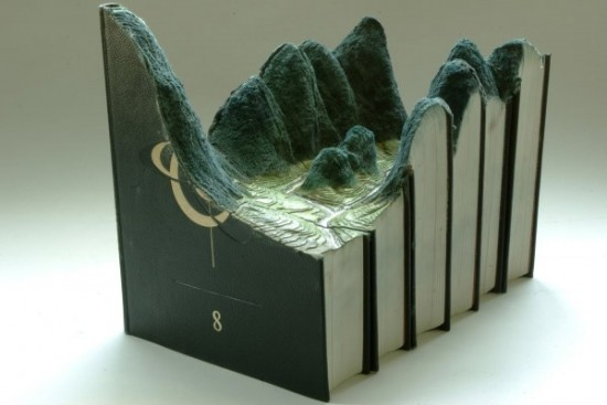02 Carved Book Landscapes by Guy Laramee 550x367 Guy Laramee | Carved Book Landscapes