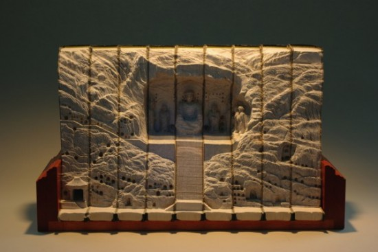 06 Carved Book Landscapes by Guy Laramee 550x367 Guy Laramee | Carved Book Landscapes