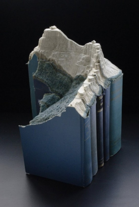 07 Carved Book Landscapes by Guy Laramee 550x821 Guy Laramee | Carved Book Landscapes